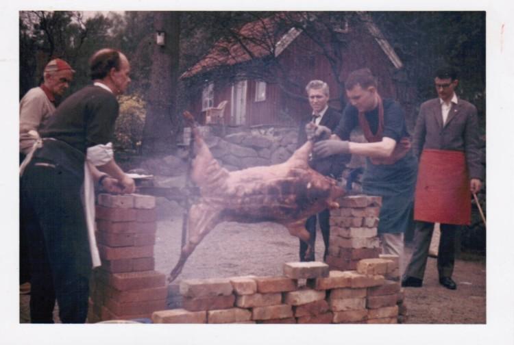 Helstekt gris på gården